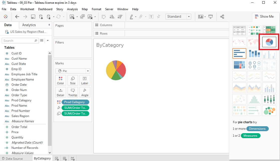 Tableau Pie charts Step 2